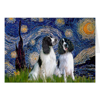 Engilsh Springer Pair - Starry Night Card
