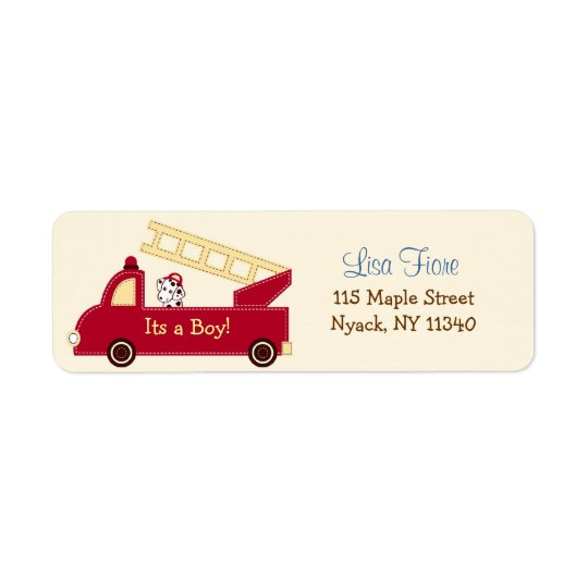 Engine 27 Fire Truck Baby Shower Address Labels