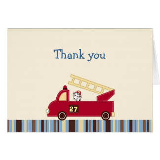 Engine 27 Fire Truck Puppy Thank You Note Cards
