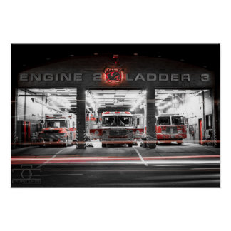 "Engine 2 Station at night - 19"" x 13"", (Matte) Poster"