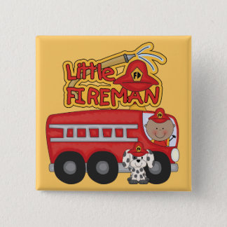 Engine Little Fireman African American Tshirts 2 Inch Square Button