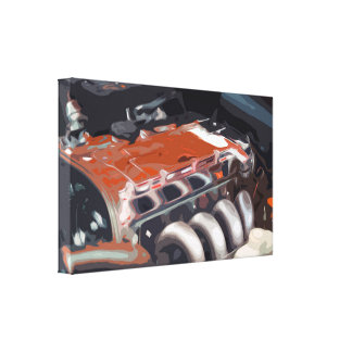 Engine of a Classic Muscle Car with a Clean Design Canvas Print