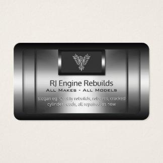 Engine Rebuilds - faux metal, silver phoenix Business Card