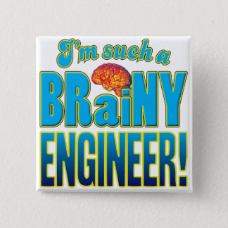 Engineer Brainy Brain 2 Inch Square Button