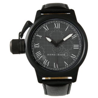 Engineer Gears Custom Name Black Watch