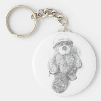Engineer Teddy Bear Sketch Basic Round Button Keychain