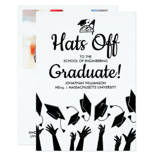 Engineering Grad Photo Hats Off Graduation Party Card
