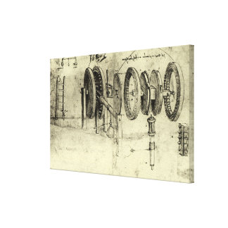 Engineering Sketch of a Wheel by Leonardo da Vinci Canvas Print