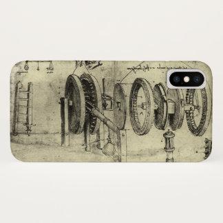 Engineering Sketch of a Wheel by Leonardo da Vinci iPhone X Case