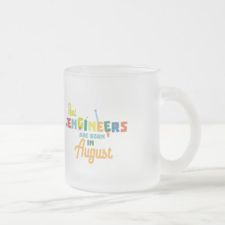 Engineers are born in August Z479b Frosted Glass Coffee Mug
