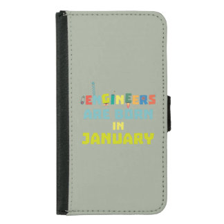 Engineers are born in January Zcu85 Samsung Galaxy S5 Wallet Case