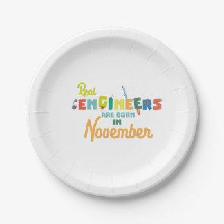 Engineers are born in November Z9g4h Paper Plate