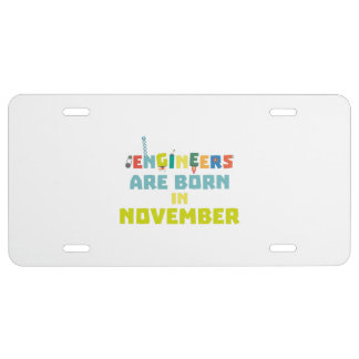 Engineers are born in November Za7ra License Plate
