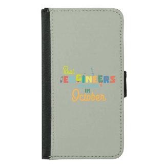 Engineers are born in October Zs52p Samsung Galaxy S5 Wallet Case