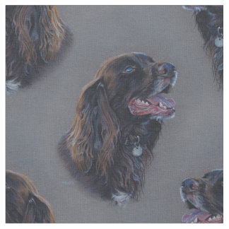 Engish Cocker Spaniel dog. Fine art painting. Fabric
