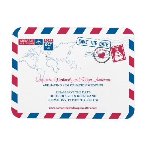 ENGLAND Air Mail Wedding Save the Date 3x4 Rectangle Magnet