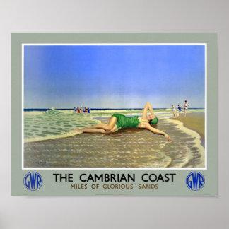 England Cambrian Coast Vintage Travel Poster