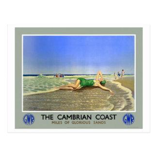 England Cambrian Coast Vintage Travel Poster Postcard