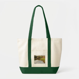 England Canal Landscape Green Handle Tote Bag