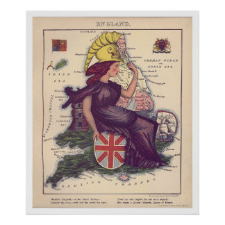 England Caricature Map 1868 Poster