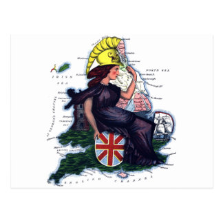 England Caricature Map Postcard