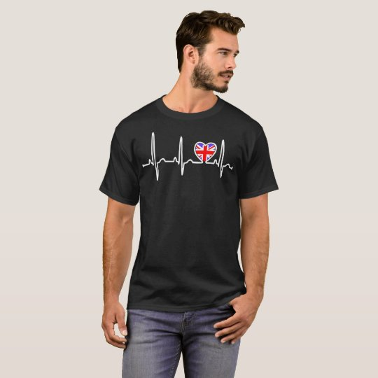 England Country Flag Heartbeat Pride Tshirt