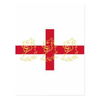 England English Flag Saint George Cross Lions Postcard