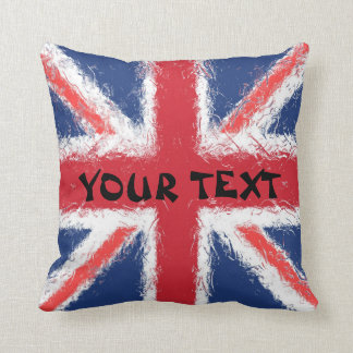 England Flag: ADD TEXT Throw Pillow