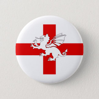 England Flag and Dragon 2 Inch Round Button