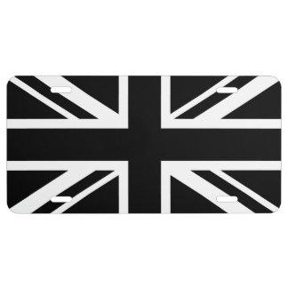 England Flag Black White 1 License Plate