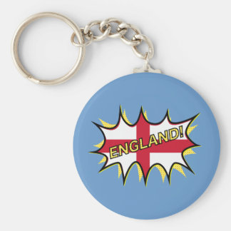England Flag Kapow Comic Style Star Basic Round Button Keychain