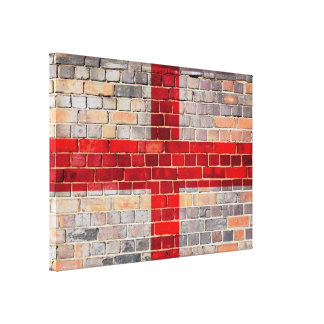 England flag on a brick wall canvas print