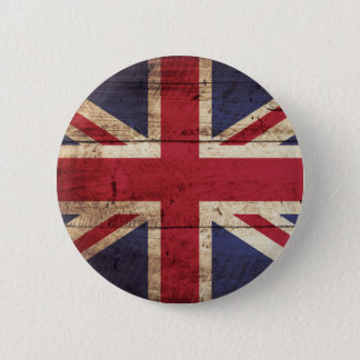England Flag on Old Wood Grain 2 Inch Round Button