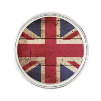 England Flag on Old Wood Grain Lapel Pin