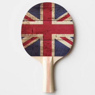 England Flag on Old Wood Grain Ping Pong Paddle