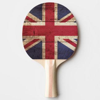 England Flag on Old Wood Grain Ping Pong Paddle