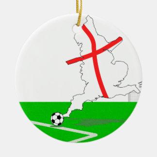 ENGLAND Football Team White Background Round Ceramic Ornament