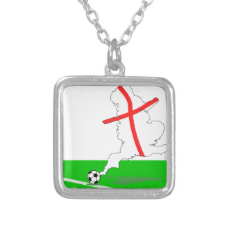 ENGLAND Football Team White Background Silver Plated Necklace