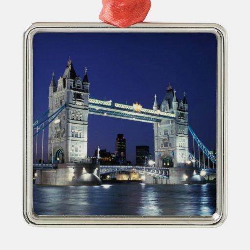 England, London, Tower Bridge 3 Christmas Tree Ornaments