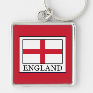 England Silver-Colored Square Keychain