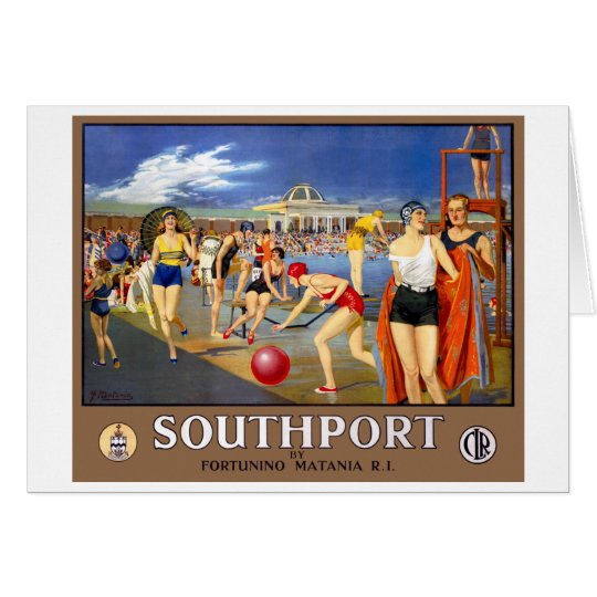 England Southport Restored Vintage Travel Poster Card