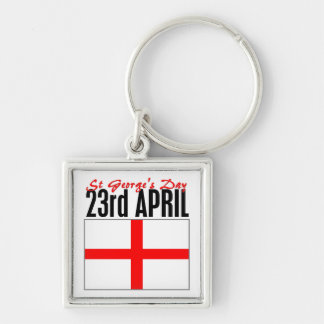 England, St George's Day Silver-Colored Square Keychain