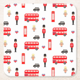 England Symbols Pattern Square Paper Coaster