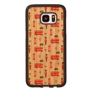 England Symbols Pattern Wood Samsung Galaxy S7 Edge Case