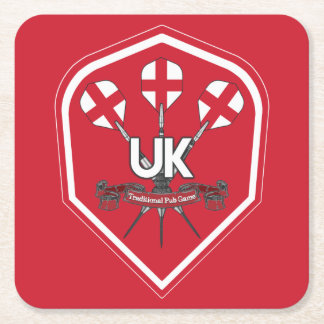 England Traditional Pub Games Square Paper Coaster