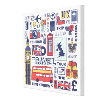 England Travel Doodles Canvas Print