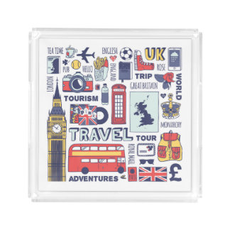 England Travel Doodles Serving Tray