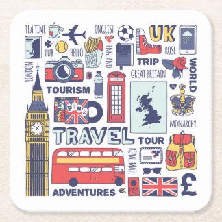 England Travel Doodles Square Paper Coaster