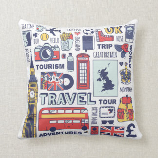 England Travel Doodles Throw Pillow