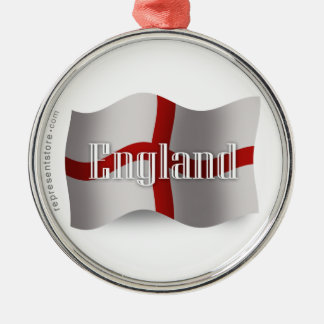 England Waving Flag Metal Ornament